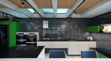 Lara  Farmilo of Poggenpohl Akzente - Winner architecture, ceiling, countertop, daylighting, interior design, kitchen, loft, black, gray