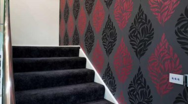 Staircase with black and red wallpaper - Staircase angle, architecture, ceiling, daylighting, design, floor, flooring, interior design, stairs, wall, wallpaper, black