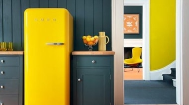 Smeg Fab fridge in lemon yellow brings more door, furniture, interior design, orange, product, shelf, yellow