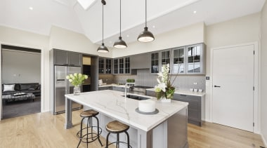 This spectacular kitchen features Haro Oak Markant Permadur countertop, cuisine classique, floor, interior design, kitchen, real estate, room, white