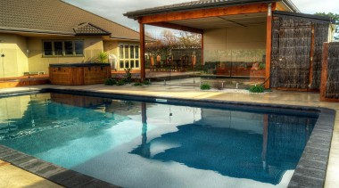 Gold Award recipient for Residential Swimming Pools under backyard, estate, home, house, leisure, property, real estate, resort, swimming pool, villa, water, brown