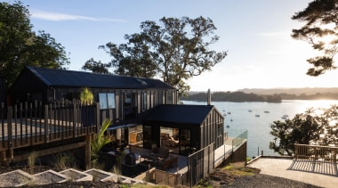The ADNZ Resene Architectural Design Awards for 2015 cottage, home, house, property, real estate, tree, black, white