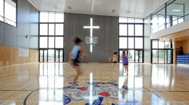 EXCELLENCE AWARDPaul Keane Gymnasium St Marys College Auckland basketball court, floor, flooring, hardwood, indoor games and sports, institution, leisure centre, sport venue, sports, structure, white, gray