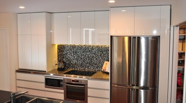 Sage Doors has been manufacturing quality roller doors cabinetry, countertop, interior design, kitchen, room, under cabinet lighting, gray