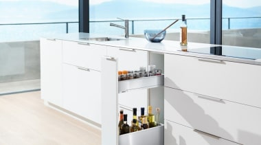 Blum's idea for narrow cabinets offers a simple furniture, kitchen, product, table, white