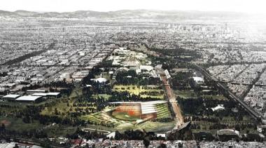 Estadio Diablos is the new stadium design for aerial photography, bird's eye view, city, metropolis, metropolitan area, residential area, suburb, urban area, urban design, white, black