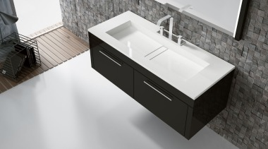 Lavabo Reflection de Silestone - color Blanco Zeus bathroom, bathroom accessory, bathroom cabinet, bathroom sink, countertop, drawer, furniture, plumbing fixture, product, product design, sink, tap, white, black