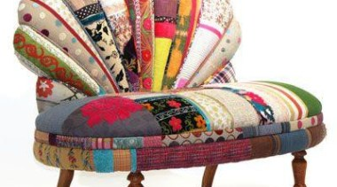 Technicolor Furniture Collection Reuses Textiles of the Silk chair, furniture, patchwork, product, textile, white