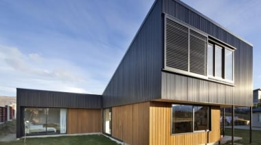 Acland House, Wanaka, New ZealandRafe Maclean Architects architecture, building, elevation, facade, home, house, property, real estate, teal