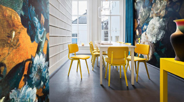 'Droog' is the wallpaper installation that has been art, chair, furniture, interior design, modern art, painting, room, table, yellow, gray