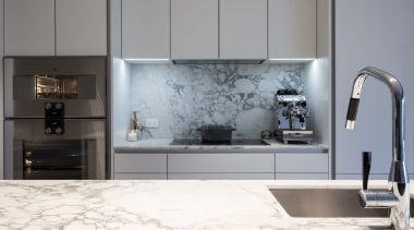 IMGL6942-7 - George Street, Apartment living - bathroom bathroom, countertop, floor, flooring, interior design, kitchen, product design, room, sink, tap, tile, gray