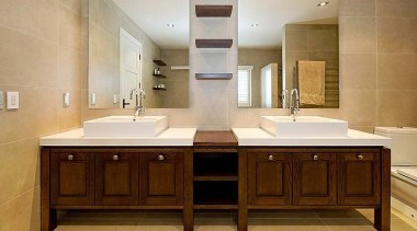 Our designs can take form even in small bathroom, bathroom accessory, bathroom cabinet, cabinetry, countertop, cuisine classique, floor, interior design, kitchen, property, room, sink, brown