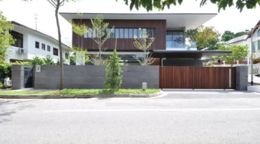 Sunset Way House, Singaporea collective architects architecture, building, condominium, courtyard, estate, facade, fence, home, house, neighbourhood, property, real estate, residential area, white