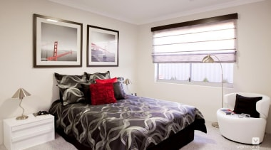 Bedroom design. - The Odyssey Display Home - bed frame, bedroom, ceiling, home, interior design, property, real estate, room, window, window covering, gray