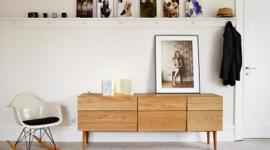 Designed by Scandinavian design company Soren Rose Studio, chest of drawers, furniture, interior design, shelf, shelving, sideboard, table, wood, white