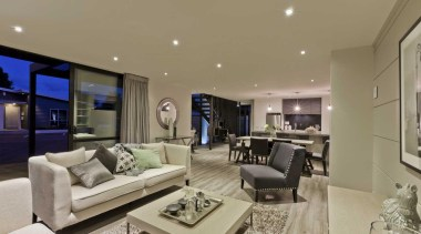 Open plan living room by Yellowfox - Living ceiling, estate, home, interior design, living room, property, real estate, room, brown