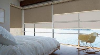 luxaflex roller blinds - luxaflex roller blinds - bed, bed frame, bedroom, curtain, daylighting, door, floor, furniture, home, interior design, mattress, room, shade, window, window blind, window covering, window treatment, wood, gray