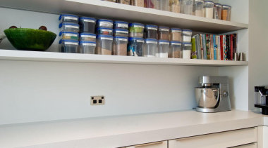 Khandallah Kitchen - Khandallah Kitchen - bookcase   bookcase, cabinetry, furniture, interior design, kitchen, shelf, shelving, gray