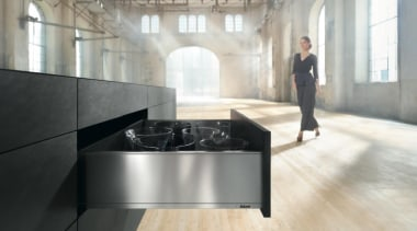 The new Legrabox drawer system from Blum boasts floor, flooring, furniture, interior design, table, white, gray