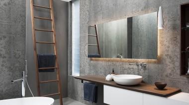 With a subtle pattern reminiscent of lace, large-format bathroom, bathroom cabinet, floor, interior design, sink, Tiles, grey, vessel, Minosa Design