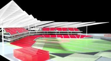 Estadio Diablos is the new stadium design for architecture, daylighting, line, product design, red, scale model, sport venue, stadium, structure, black