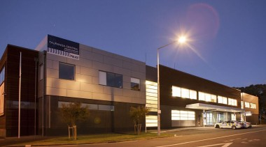 NOMINEETauranga Central Police Station (2 of 4) - architecture, building, commercial building, corporate headquarters, evening, facade, headquarters, metropolitan area, mixed use, night, property, real estate, residential area, sky, blue, brown