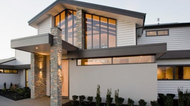 A-lign is suited to both direct and cavity architecture, building, elevation, facade, home, house, property, real estate, residential area, roof, siding, window, gray