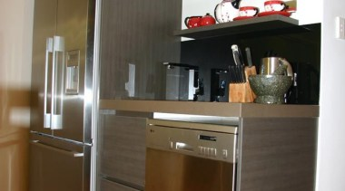 19 modern lynfield 2012 7.jpg - 19_modern_lynfield_2012_7.jpg - cabinetry, countertop, cuisine classique, floor, hardwood, home appliance, interior design, kitchen, major appliance, refrigerator, room, brown