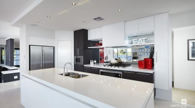 Kitchen design. - The Montrose Display Home - countertop, interior design, kitchen, real estate, gray, white