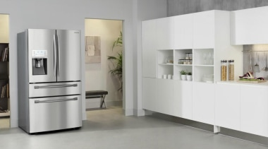 Refrigerator – French door – SRF679SWLSThe new Samsung floor, flooring, furniture, home appliance, interior design, kitchen, kitchen appliance, major appliance, product design, refrigerator, gray