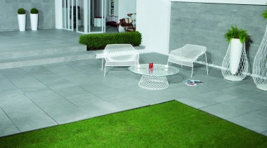 Wire grey exterior 20mm patio tiles - Wire backyard, floor, flooring, furniture, grass, interior design, lawn, outdoor furniture, plant, table, tile, white, green, gray