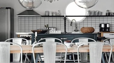 Lights, Vintage Chairs and amazing kitchen cabinets.When Country ceiling, chair, chandelier, dining room, furniture, interior design, lamp, light fixture, lighting, product design, table, white, gray