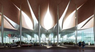 Sordo Madaleno Arquitectos and Pascall+Watson have shared their airport terminal, architecture, building, ceiling, convention center, corporate headquarters, daylighting, headquarters, metropolis, metropolitan area, mixed use, performing arts center, structure, brown, white