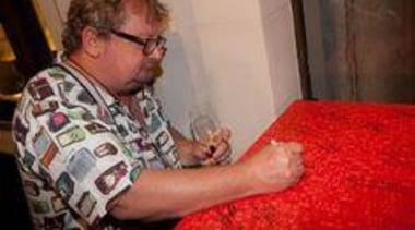At Auckland Museum - At Auckland Museum - finger, material, senior citizen, textile, red