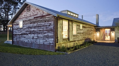 takatu woolshed peter were.jpg - takatu_woolshed_peter_were.jpg - cottage cottage, facade, farmhouse, home, house, property, real estate, residential area, shed, siding, black, teal