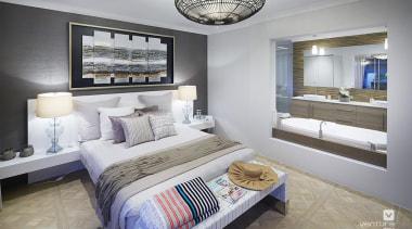 Master ensuite design. - The Sanctuary Display Home bed frame, bedroom, ceiling, home, interior design, living room, real estate, room, suite, gray