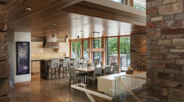 This new house, designed by Charles R Stinson ceiling, floor, flooring, interior design, living room, lobby, loft, real estate, brown
