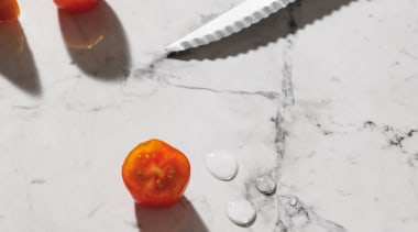 Clean and classic, Bianca Luna quartzite is distinguished orange, white