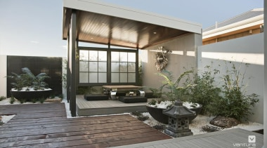 Japanese Alfresco Design. - The Dynasty Display Home architecture, courtyard, home, house, interior design, real estate, window, gray