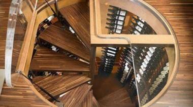 Modern Wine Cellar Ideas - Modern Wine Cellar stairs, wood, brown, orange