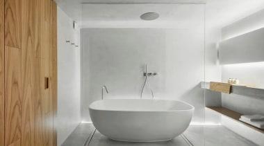 See the room architecture, bathroom, bathroom sink, bathtub, bidet, floor, interior design, plumbing fixture, room, sink, tap, tile, wall, gray