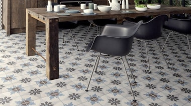 Each tile is identical and collectively combine to carpet, chair, floor, flooring, furniture, hardwood, laminate flooring, table, tile, gray, black