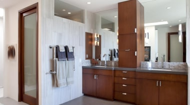 A modern transformation to an 80's style bathroom. bathroom, bathroom accessory, bathroom cabinet, cabinetry, countertop, interior design, kitchen, real estate, room, gray