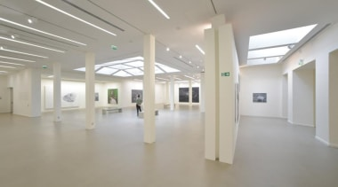 The Vincent Van Gogh Foundation is the result art gallery, ceiling, daylighting, exhibition, floor, flooring, hall, interior design, lobby, property, real estate, gray