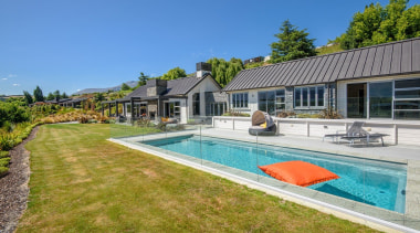 The word 'relax' comes to mind with this cottage, estate, home, house, leisure, property, real estate, residential area, swimming pool, villa, teal, brown