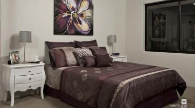 Bedroom design. - The Providence Display Home - bed, bed frame, bed sheet, bedding, bedroom, furniture, home, interior design, mattress, real estate, room, textile, wall, gray, black