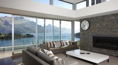 Breathtaking views of the blue lakes  and architecture, daylighting, house, interior design, living room, penthouse apartment, property, real estate, window, gray, white