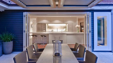 View from the exterior looking into the kitchen ceiling, estate, interior design, property, real estate, gray