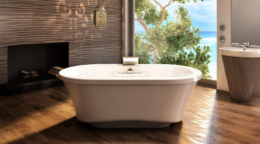 The Amma freestanding with narrow base is designed bathroom, bathtub, ceramic, floor, flooring, hardwood, interior design, plumbing fixture, product design, tile, wood, wood flooring, brown