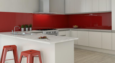 Seratone Escape offer 16 ultra-glossy colours born from countertop, interior design, kitchen, product design, table, gray, red